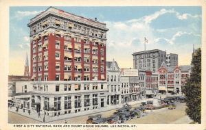 Lexington Kentucky~National Bank~Court House Square~Goodloe Seed Co~1916 PC