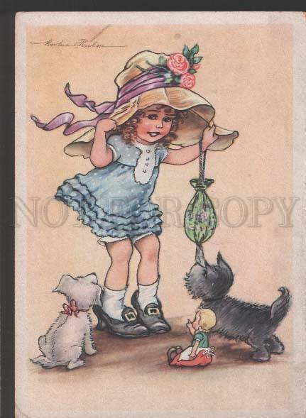 118937 Pretty Girl w/ DOLL & SCOTTISH TERRIER Vintage color PC