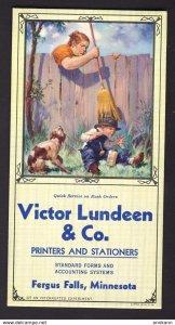 Fergus Falls, Minnesota USA - Victor Lundeen & Co. Printers dog boy blotter