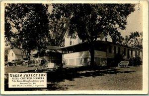 Kansas City Missouri RPPC Photo Postcard GREEN PARROT INN Fried Chicken Dinners