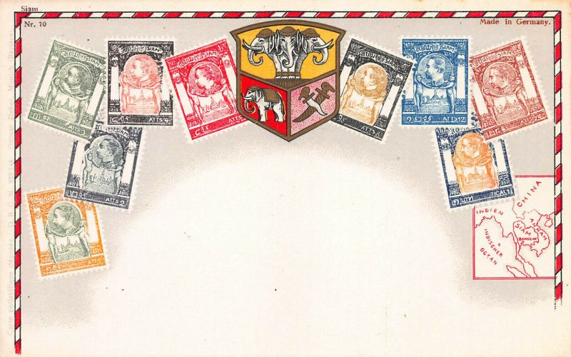 Thailand (Siam) Stamps on Early Postcard, Unused, Published by Ottmar Zieher