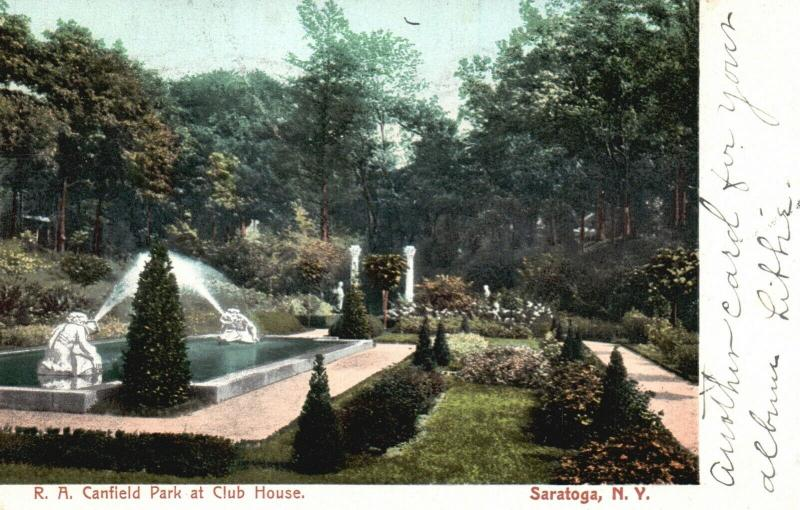 Saratoga, NY, R. A. Canfield Park at Club House, 1906 Vintage Postcard, f978
