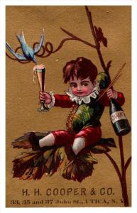 Child drinking Champagne H.H.Cooper Utica New York  Victorian  Trade Card