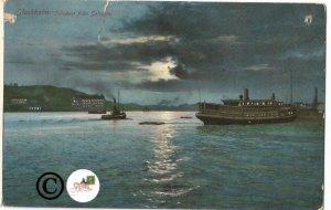 Vintage Postcards Stockholm Inioppet Fran saltsjon Sweden Shipping Night Scene