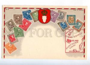 231929 Iceland Coat of arms STAMPS Vintage Zieher postcard