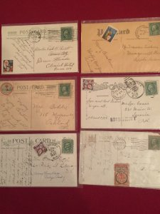 US 6 early 1900  postcards with early Christmas seals incl Wisconsin 1909