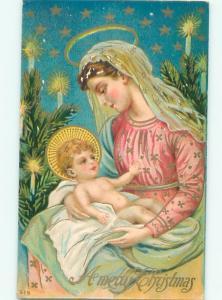 Pre-Linen Christmas nativity MARY HOLDING BABY JESUS AB5253