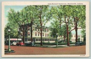 Martinsville Indiana~Cohn-Barnard Sanitarium~Classic Cars Parked~1940s Postcard
