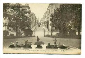 Libourne , France, PU-1919   un Coin du Square et la Rue Thiers