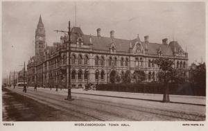 Town Hall Middlesborough Vintage Real Photo Postcard