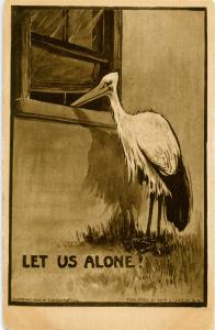 Let us alone! (Stork peeping in bedroom window)