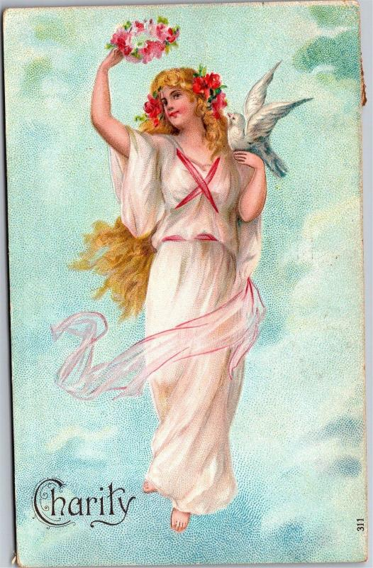 Charity Beautiful Goddess Dove Flowers Crown c1909 Vintage Postcard J03