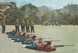 Chinese Children Shooting Military Gun Training Scouts Camp School Postcard