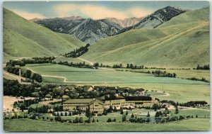 Vintage UNION PACIFIC RAILROAD Linen Ad Postcard Sun Valley Idaho Summer Scene