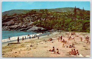 Bar Harbor ME~Set Out Your Blankets on This Sandy Beach~Don't Wade Too Far 1960s