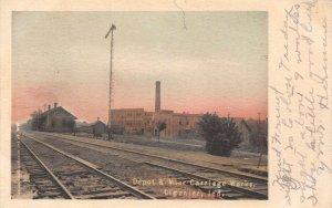 LP69  Ligonier Indiana Vintage Postcard Depot & Mier Carriage Works Depot