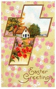Easter , Cross , farmhouse