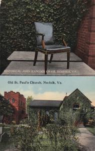 NORFOLK, Virginia, 00-10s; Historical John Hancock Chair, Old St. Paul's Church