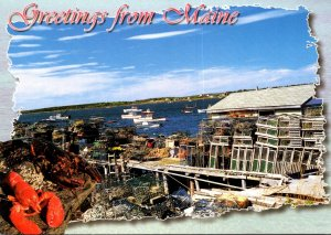 Maine Greetings From The Maine Coast With Harbor Scene and Lobster Traps