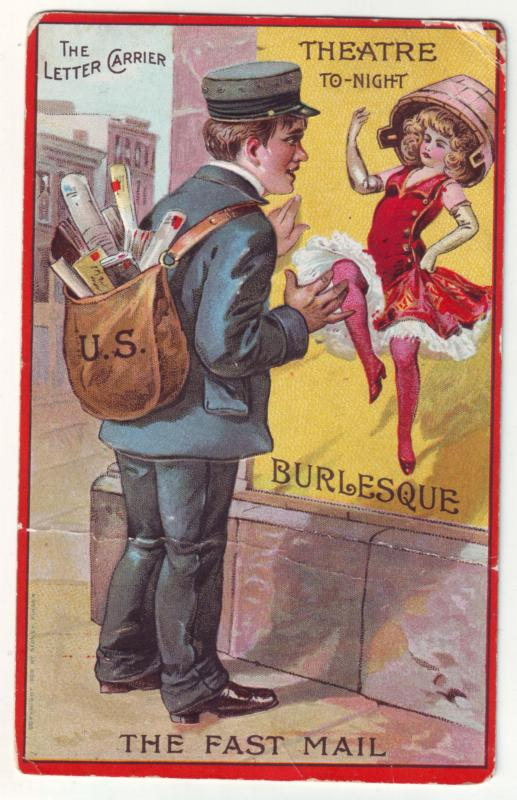 P1184  old postcard used the letter carrier theatre to-night fast mail burlesque