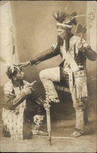 Native American Indians in Studio Gun Hatchet Pipe +++PHOTOGRAPHY RPPC c1905