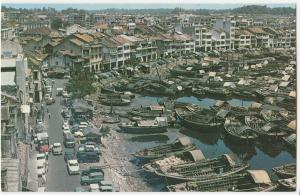 Singapore river Boats cars aerial view Postcard