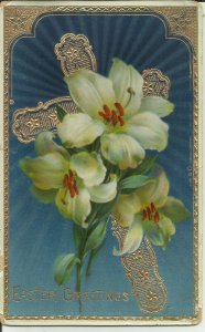 Easter Greetings White Flowers --- EMBOSSED