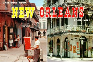 Louisiana New Orleans Greetings Showing Vieux Carre Buildings