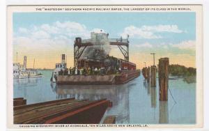 Mastodon Railroad Ferry Boat Barge New Orleans Louisiana 1920s postcard