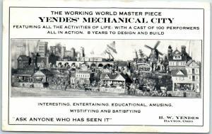 Dayton, Ohio Postcard YENDES' MECHANICAL CITY Miniature Village Roadside 1927