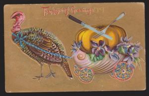 Thanksgiving Greetings - Turkey & Pumpkin - Used - Embossed