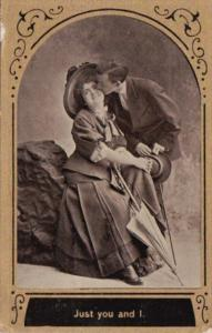 Romantic Couple Kissing Just You and I 1910