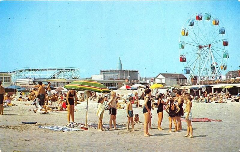 Wildwood-By-The-Sea NJ Beach Roller Coaster Ferris Wheel Swim Suits Postcard