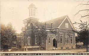 G32/ Nebraska City Nebraska RPPC Postcard 1910 First M.E. Church Parsonage