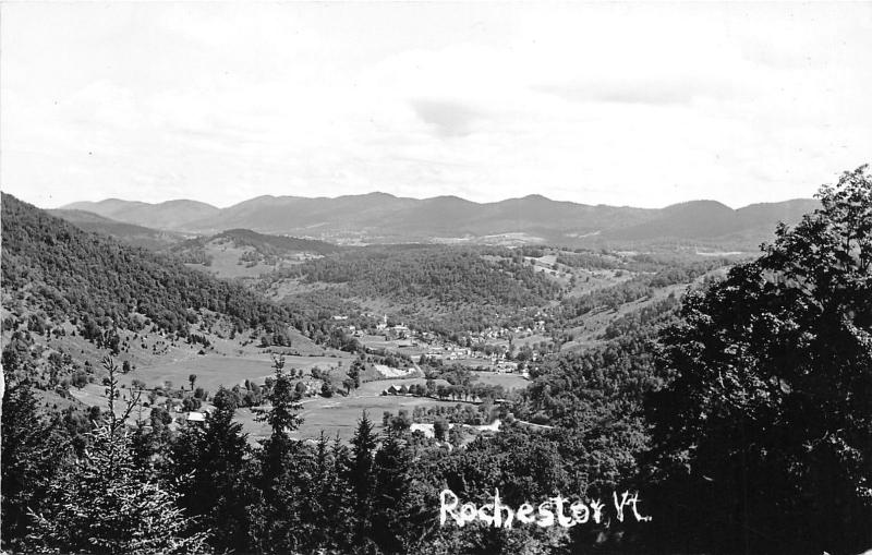 Rochester Vermont~Aerial View of Town in Valley~1930s RPPC Postcard