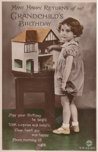 Antique Doll House Present For Grandchilds Birthday Real Photo Postcard