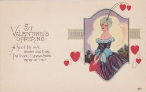 Valentine's Day Beautiful Lady Wearing Purple Gown and Red Heart