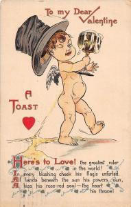 D41/ Valentine's Day Love Holiday Postcard 1910 Lincoln Illinois Top Hat Beer 16