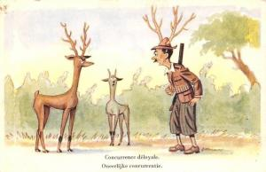 Comic Humour Hunter Deer Concurrence deloyale Unfair competition Postcard