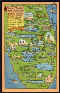 Florida MAP - Colorful Florida's Most Coloful Spots Attractions - LINEN