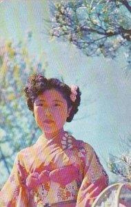 Japan Girl With Kimona In Garden In Shizuoka