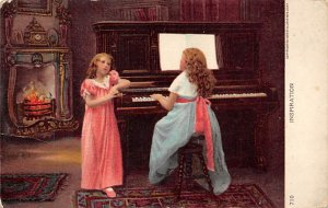 Childrent sitting at a Piano  Postcard PU Unknown