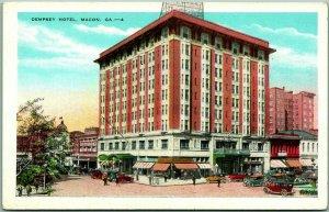 1930s Macon, Georgia Postcard DEMPSEY HOTEL Downtown Street Scene / Kropp Unused
