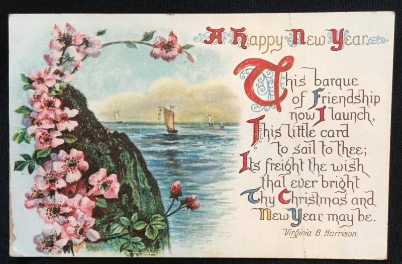 Used Postcard Happy New Year PM-1909 LB