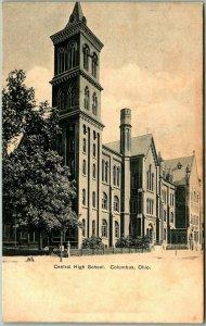 Columbus, Ohio Postcard Central High School Building Front View c1900s Unused