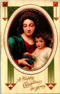 Vtg Carte Postale 1910s non Utilisé Un Joyeux Noël Être Yours Mary & Jésus