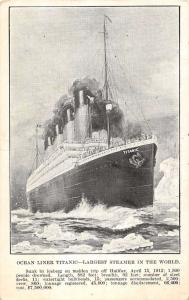 Postcard of Ocean Liner Titani c Largest Steamer in World  Antique Postcard L652