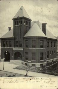 New Kensington PA Town Hall Fire Station c1910 Postcard