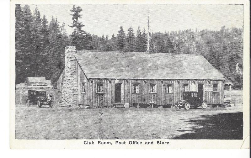 POSTCARD CLUB ROOM POST OFFICE AND STORE TWO VINTAGE OLD CARS
