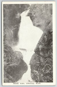 Lilliwaup Washington~Middle Falls Scenery~1920s B&W Postcard